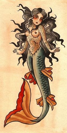 Traditional Style Mermaid tattoo.