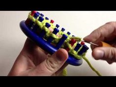 """Quick Granny Round on 24 peg loom : New Granny Round video with quick tips & smaller on 24 peg loom. Loom along from start to finish in one take! Makes a 3-4"""" round. Watch close for faster purling technique."""