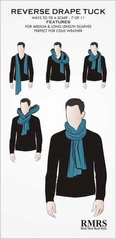 How To Tie A Manly Scarf Knot? These 3 ways to wear a scarf will ensure that you are warm, the scarf won't come undone and you will look stylish. #Ties
