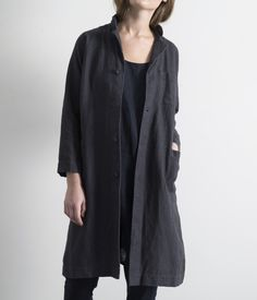 This season's work coat is called Rina. Whether you wear it year round as your office uniform or as a lighter coat during Spring and Summer--you can't go wrong. Tailored in Fog's heavier weight linen,