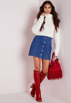 Button Through Denim Skirt Rinse Indigo - Skirts - Mini Skirts - Missguided