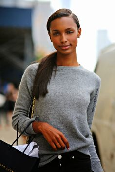 sweater weather. #JasmineTookes throwing some stunning around #offduty in NYC.