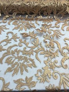 "Gold Fire Flame Sequins Fabric Matching Mesh 55"" Wide Fabric Sold By Yard"