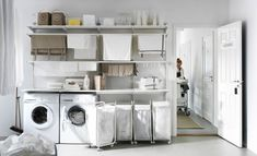 A wall-mounted drying rack, like Ikea ALGOT, helps save space while saving energy. Ikea Laundry Room, Laundry Room Cabinets, Basement Laundry, Small Laundry Rooms, Laundry Room Organization, Laundry Room Design, Laundry Shelves, Laundry Area, Laundry Closet