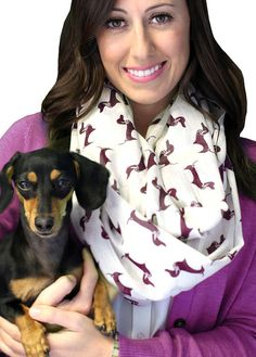 Dachshund Sausage Doxie Dog Infinity Scarf. Circle Loop. Fashion Shawl Wrap. Unique Dog Lovers Gift Ideas (Off White / Burgundy)