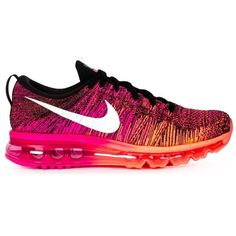 Nike Womens Nike Flyknit Max Sneakers (760 BRL) ❤ liked on Polyvore featuring shoes, sneakers, colorful sneakers, nike, multicolor shoes, multi color sneakers and woven shoes