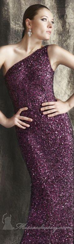 Elegant long formal dress by Theia #glitter #oneshoulder