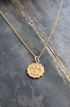 Dainty Fleur de Lis Necklace by bejeweledbynikki on Etsy, $33.00
