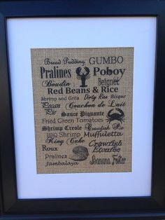 Louisiana Cuisine Burlap Print, crawfish, crab, oysters, gumbo, king cake, jambalaya, pralines on Etsy, $20.00
