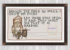 Behold the Field Cross Stitch PDF Pattern Medieval Meme