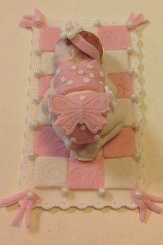 Baby Girl Cake Topper by EdibleSugarArt on Etsy, $25.00