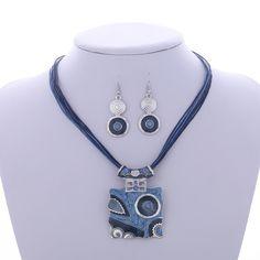 Conjunto de Joyería de moda de Plata Llena de Cuero Cuadrado Geometría Collares Pendientes de Gota Pendientes de la Joyería de la Fábrica Precio Al Por Mayor