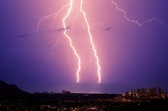 Photograph Double bolt of lightning over Waikiki, Hawaii by Jarvis Gray on 500px