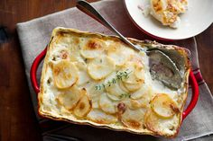 Bacon Potatoes au Gratin. I would cook the bacon first because I like crispy bacon not soft. I also might adjust a few things to lighten it up and lower the calories.