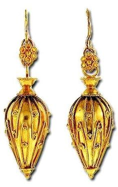 Victorian Etruscan revival urn form earrings with granulation and wirework decoration.