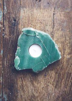 Green Quartz Crystal Slab Candle Holder by SoulMakes