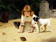 """Curiosity"" -- Charles Burton Barber (1845--1894 English)"