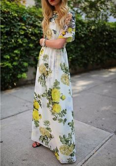 Green Floral Print Boxy Well Pleated Elbow Sleeve Floor Length Party Event Elegant Maxi Dress