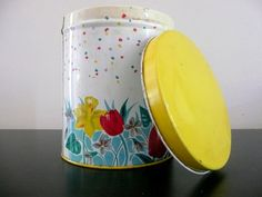 Vintage Tin Canister with Tulips & Daffodils