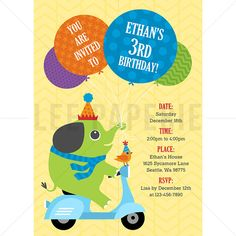 BBI016  Elephant Party Invite  Elephant Scooter by LeePaperie