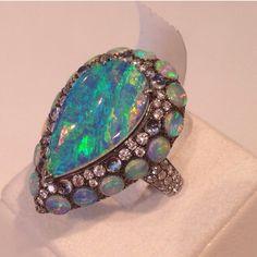 Arunashi Opal and Diamond Ring ~ Instagram #opalsaustralia