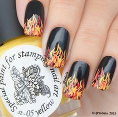 Hunger Games flame nail art, Stamping Nail Art