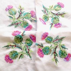 Vintage Hand Embroidered White Linen Scottish Thistle Tablecloth 41x41 Inches Lavender Dresses, Scottish Thistle, Hand Embroidery, Elsa, Pattern Design, Crafty, Sewing, Elegant, Free