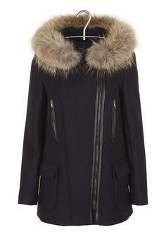 f0e631cd3b Manteau en laine avec capuche en fourrure Gabie Bleu by ZAPA Manteau  Capuche Fourrure, Manteau