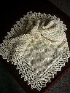 Ravelry: Easy Baby Blanket with Lace Option pattern by Denny Kelly Link for… Knitted Afghans, Knitted Baby Blankets, Baby Blanket Crochet, Baby Afghans, Knit Or Crochet, Lace Knitting, Baby Knitting Patterns, Stitch Patterns, Baby Shawl
