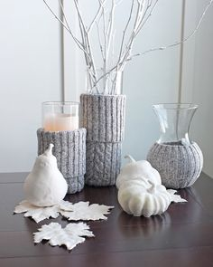 DIY sweater vases and candles