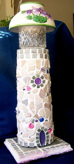 Stone and Roses Mosaic Lighthouse Lamp or Night Light by Heart Windows Art, via Flickr