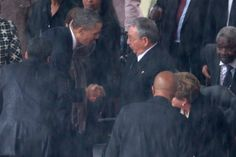 [CasaGiardino]   Barack Obama shook the hand of Cuban President Raul Castro on his way to speak at Nelson Mandela's memorial service.  The moment is special and unprecedented since the U.S. has held an economic embargo on Cuba since 1953, and Mandela was praised for his ability to unite enemies across political and racial divides.