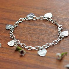 Sterling Silver Personalized Charm Bracelet with Hearts
