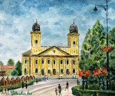 A debreceni Nagytemplom (Nana83) - Meska.hu Marvel, Mansions, House Styles, Building, Painting, Decor, Mansion Houses, Dekoration, Decoration