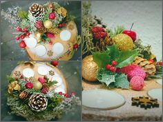 Christmas Decoration - candles - wood slice - Advent