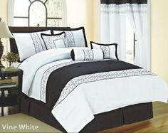 7-Piece Vine Embroidery Comforter Set (Black & White, Full)