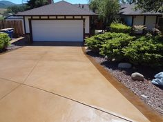 Like this color, but with large harlequin pattern. Resurfaced Driveway Concrete Driveways Concrete Product Resource Santa Rosa, CA Concrete Color, Painting Concrete, Concrete Slab, Stained Concrete, Driveway Paint, Driveway Landscaping, Driveway Ideas, Walkway, Patio Ideas