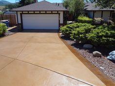 Like this color, but with large harlequin pattern. Resurfaced Driveway Concrete Driveways Concrete Product Resource Santa Rosa, CA Driveway Paint, Stamped Concrete Driveway, Driveway Landscaping, Driveway Ideas, Walkway, Pattern Concrete, Concrete Color, Concrete Design, Acid Wash Concrete