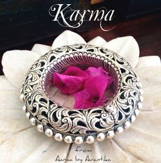 The stunning Karma Kada from Aaraa by Avantika in sterling silver! A bold and beautiful piece of jewellery handcrafted and inspired from the antique Rajasthani style of adornment.