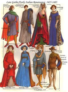 Includes terms for identifying clothing pieces [Late gothic/early renaissance Italian -- Costume History Mode Renaissance, Costume Renaissance, Medieval Costume, Medieval Dress, Italian Renaissance, Renaissance Fashion, Renaissance Clothing, Historical Costume, Historical Clothing