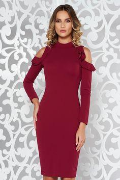 StarShinerS burgundy pencil daily dress both shoulders cut out slightly elastic fabric midi, Ruffled sleeves, both shoulders cut out, tented cut Shoulder Cut, Cold Shoulder Dress, Daily Dress, Product Label, Burgundy, High Neck Dress, Elegant, Long Sleeve