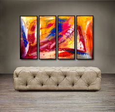 'In Your Eyes' is a 100% hand-made painting, created with acrylic paints on high-quality canvas. Painting is coated with high-gloss varnish to protect it from possible dust and sun damage. The set con