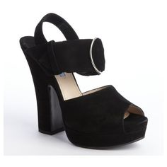 Prada Black suede buckle strap peep toe platform sandals (550 CHF) ❤ liked on Polyvore