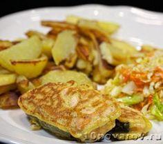 Лосось в кляре Recipes Using Egg, Recipe Using, Fried Salmon, Fried Fish, Food Dishes, Main Dishes, Batter Recipe, Cooking Salmon, Fried Potatoes