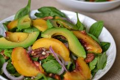 Grilled Avocado and Peach Spinach Salad #TheSaladBar   Supper for a StealSupper for a Steal