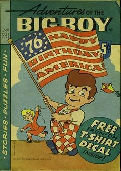 FyndIt helps connect people who are searching for rare comics with the people who know where to find them. Get help looking for #patriotic comics or get paid to find them at FyndIt! #4thOfJuly Shoney's and Bob's Big Boy Bicentennial-themed comic book.