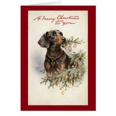Vintage Christmas Dachshund Dog Card - christmas cards merry xmas family party holidays cyo diy greeting card