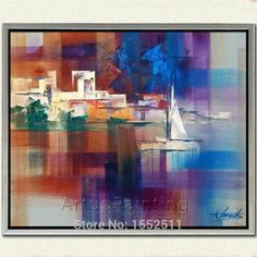 Hand painted canvas modern abstract oil painting boat ship sailing yacht oil drawing home decorations China Painting, Oil Painting Abstract, Cheap Paintings, Oil Paintings, Boat Drawing, Boat Art, Hand Painted Canvas, Art Oil, Easy Drawings
