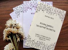 Wedding Nuptial Mass Programs / Choose Color /  Ceremony / Art Deco String Lights / Gatsby 1920s