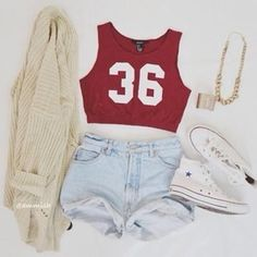 red crop top, light wash high-waisted shorts, cream cardigan white converse, but for me take away tht sweater Tumblr Outfits, Mode Outfits, Girl Outfits, Casual Outfits, Fashion Outfits, Converse Fashion, Outfits 2016, Converse Style, Converse Mode
